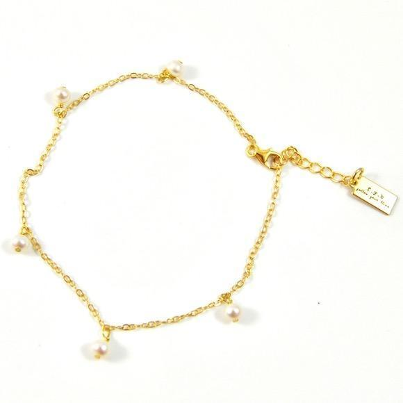 Serena Shaker Anklet Silver Pearl