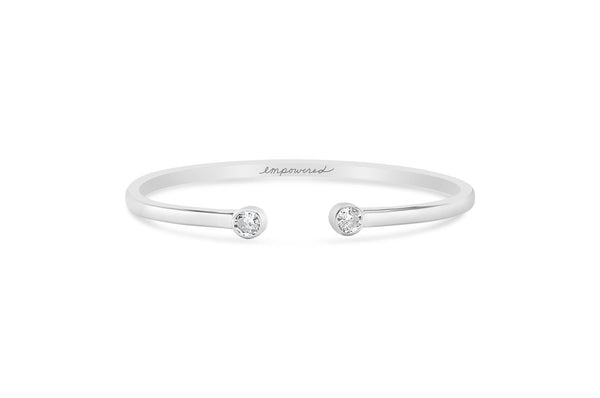 Empowered Bezel Cuff - Silver