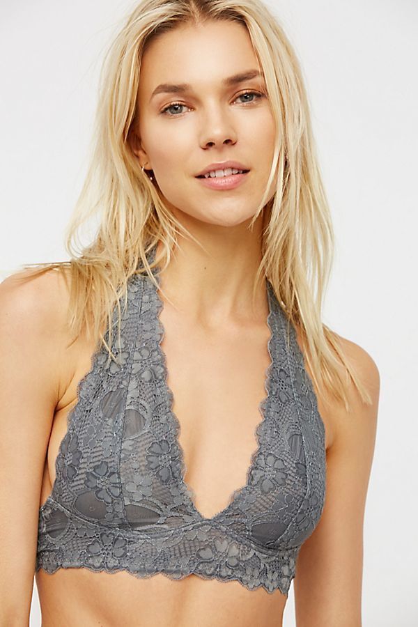 Galloon Lace Halter Dark Grey- XS