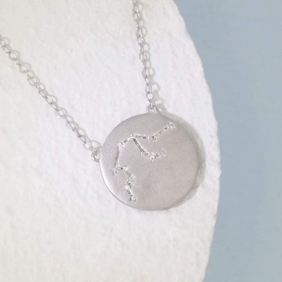 Aquarius Zodiac Necklace- Silver