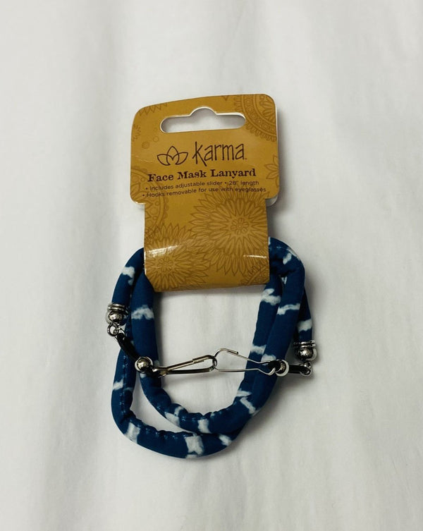 Blue Stripe Face Mask Lanyard