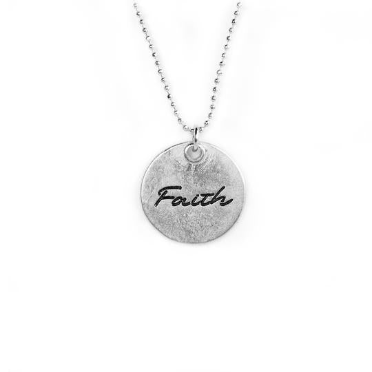 "Circle Pendant Necklace 15' - 17' in - ""Faith"""