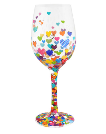 Hearts-A-Million Wine Glass
