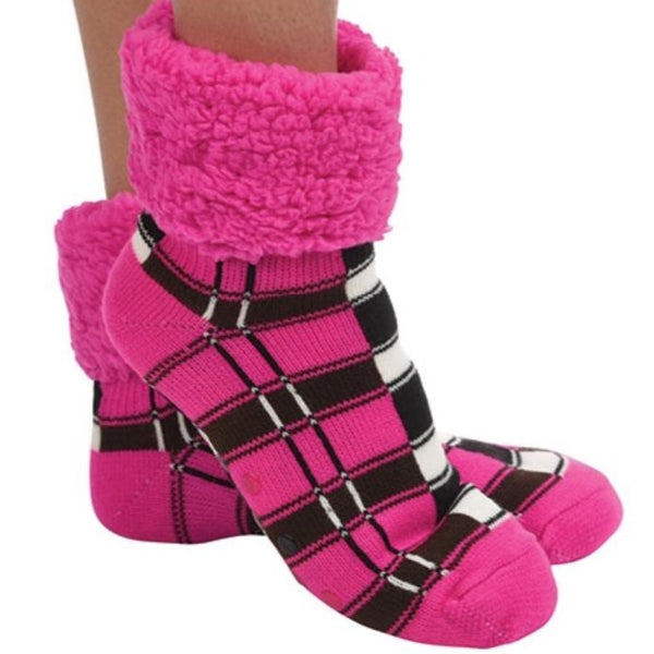 Hot Pink Plaid Cuffed Sherpa Lined Sock