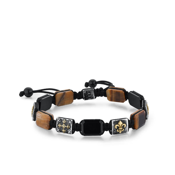 FLEUR | Fleur De Lis Bracelet and Tiger Eye Leather Bracelet