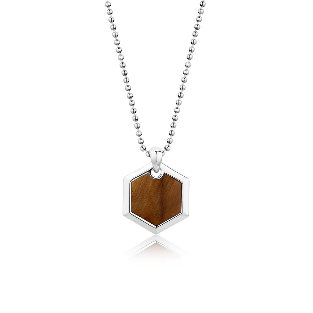 BLAKE | Hexagonal Tiger Eye Pendant Necklace