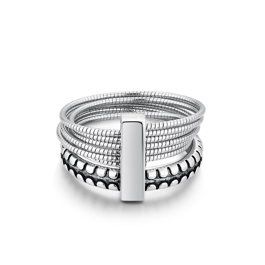 ORBS | Silver Men's Ring with Multi Rings and Connecting Bar