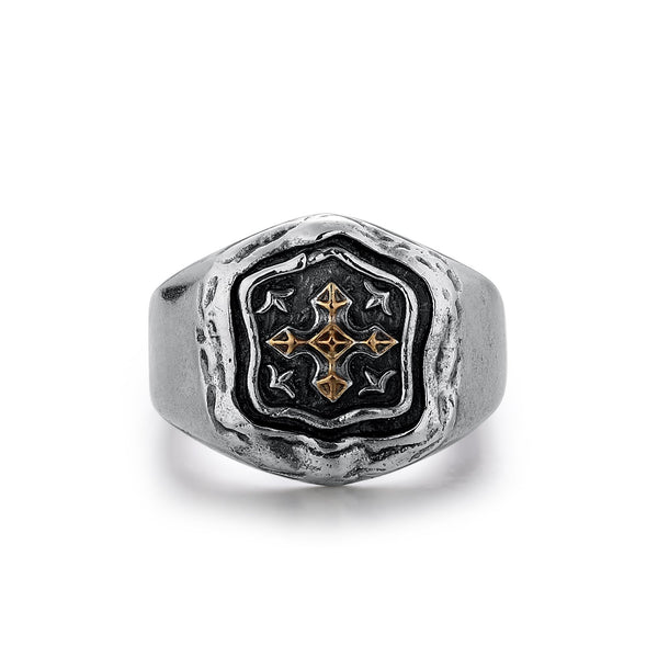URBAN | Silver Ring with Gold Highlighted Ornate Cross