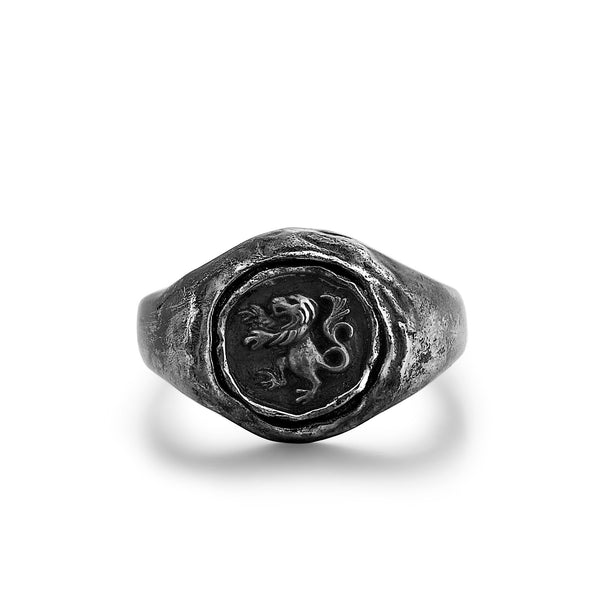 MANE | Silver Ring with Embossed Standing Lion