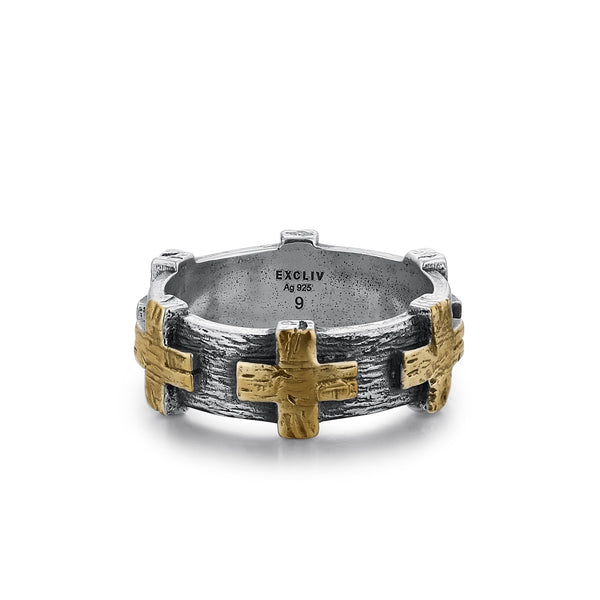 JAMESON | Silver Band For Men with Six Gold Crosses