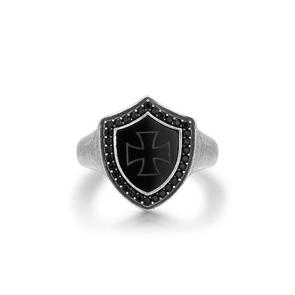 SIGNET | Shield with Carved Cross Signet Ring
