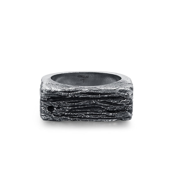 MICA | Silver Men's Textured Rectangle Ring
