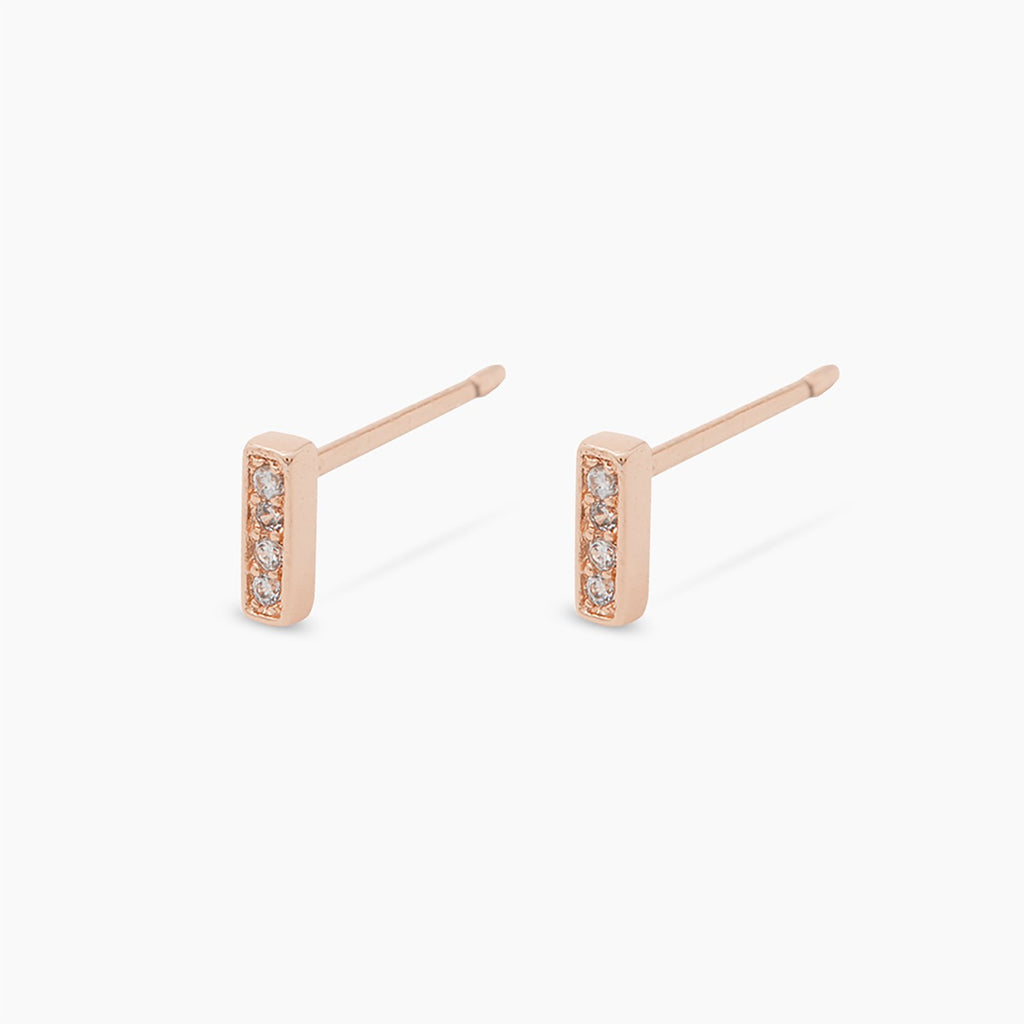 Mave Shimmer Mini Studs, Rose Gold