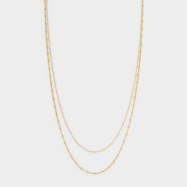 Capri Layer Necklace, Ivory Pearlized Enamel, Gold