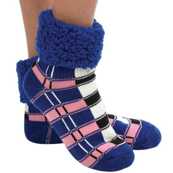 Blue Plaid Cuffed Sherpa Lined Sock