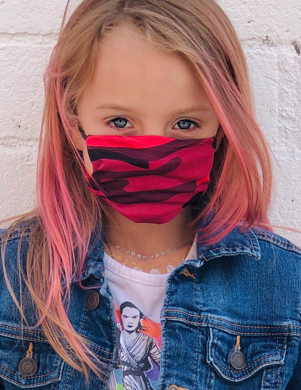 Kids American Mask- Hot Pink Camo