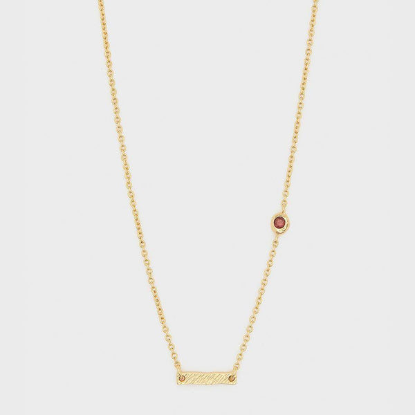 Power Birthstone Necklace, January (Garnet) - Gold