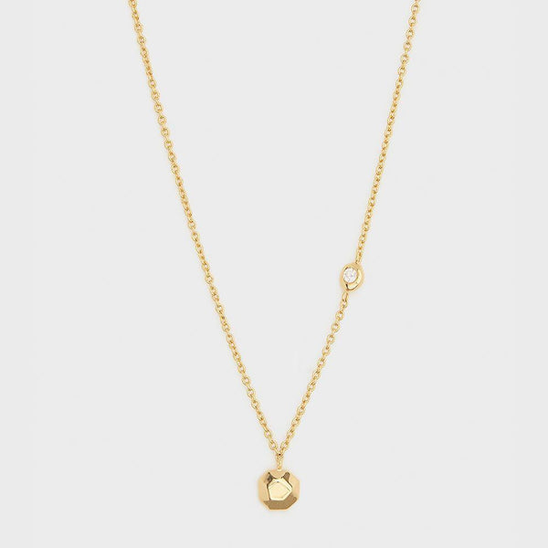 Power Birthstone Necklace, April (Diamond) - Gold