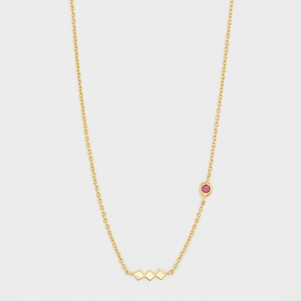Power Birthstone Necklace, July (Ruby) - Gold