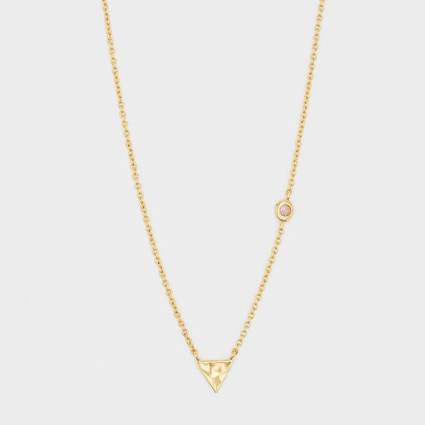 Power Birthstone Necklace, October (Pink Tourmaline) - Gold