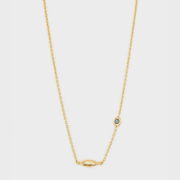 Power Birthstone Necklace, December (Blue Topaz) - Gold