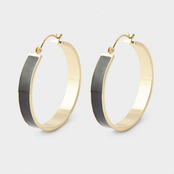 Jax Hoops, Black Enamel, Gold