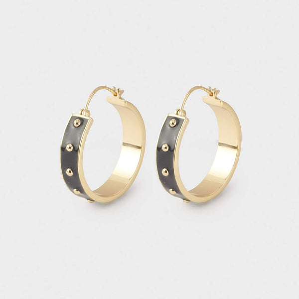Jax Small Hoops, Black Enamel, Gold