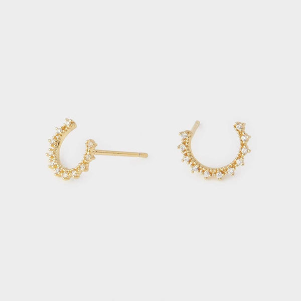 Celine Small Wrap Studs, White CZ, Gold