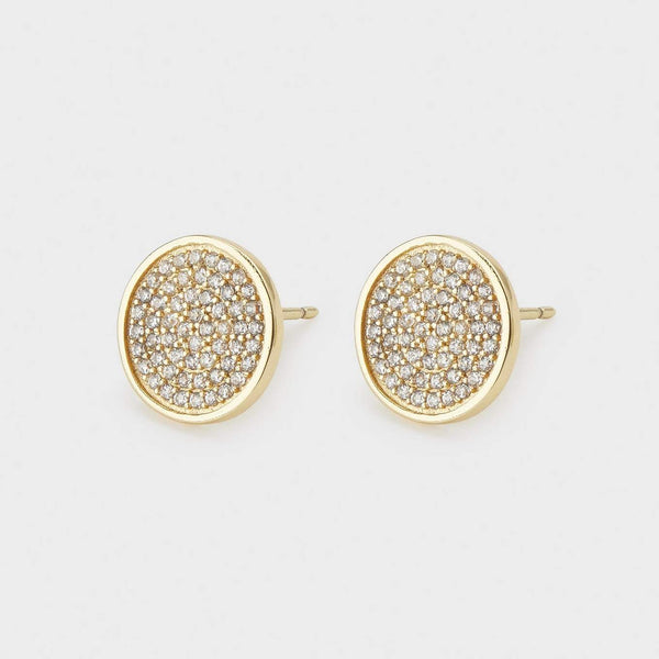 Pristine Large Studs, White CZ, Gold