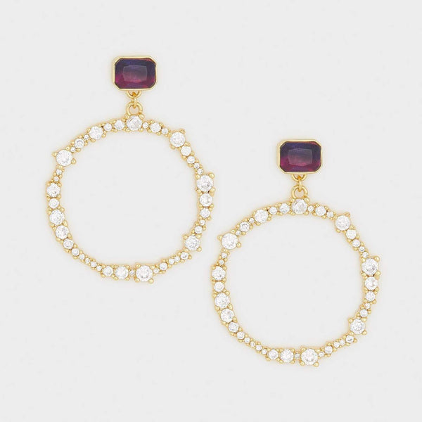 Rosslyn Drop Hoops, White CZ, Ombre Glass, Gold