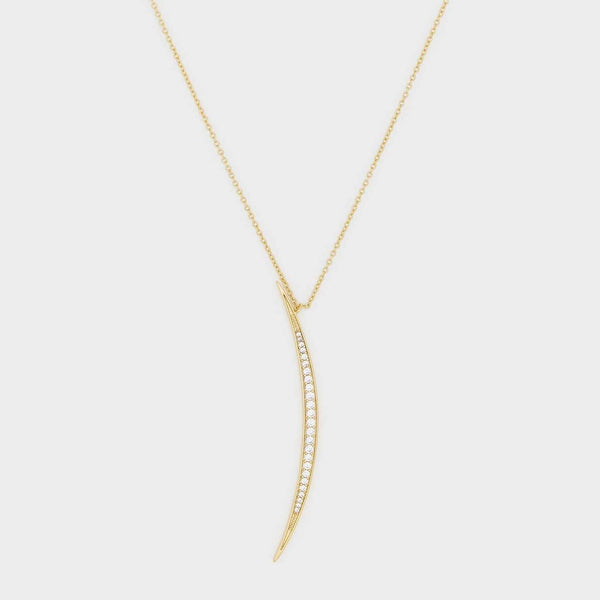 Crescent Shimmer Pendant Necklace, White CZ, Gold