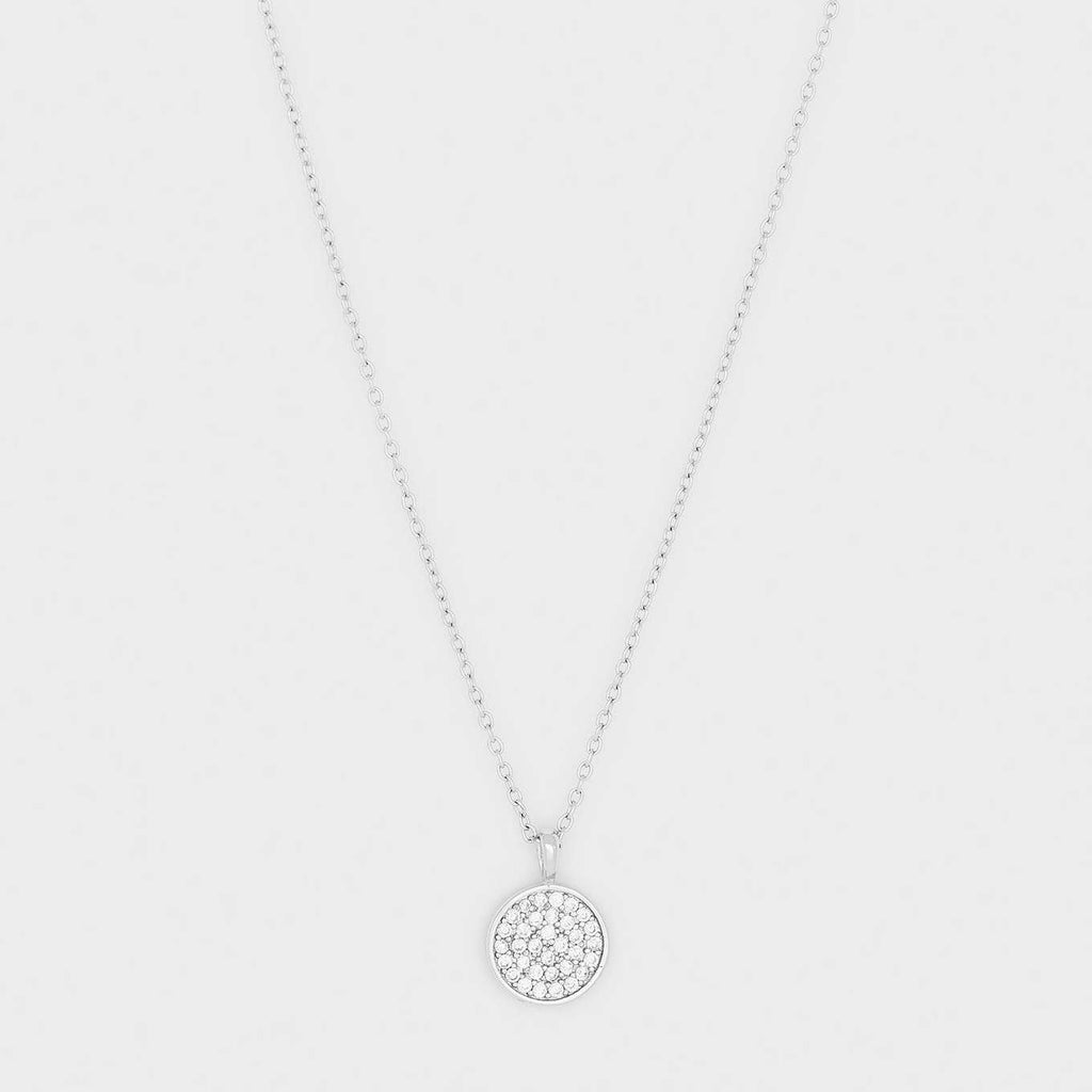 Pristine Charm Necklace, White CZ, Silver