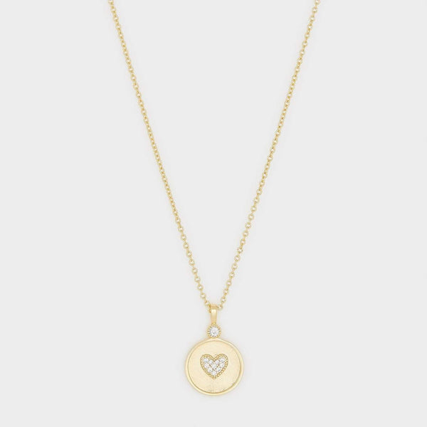 Madison Heart Coin Necklace, White CZ, Gold