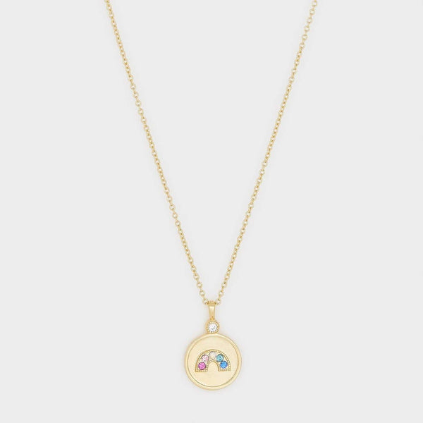 Madison Rainbow Coin Necklace, Mixed Crystal/White CZ, Gold