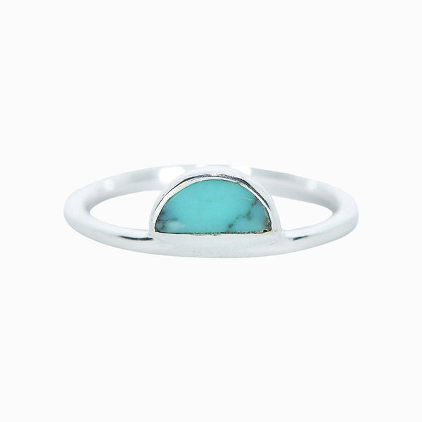 Turquoise Half Moon Ring in Silver