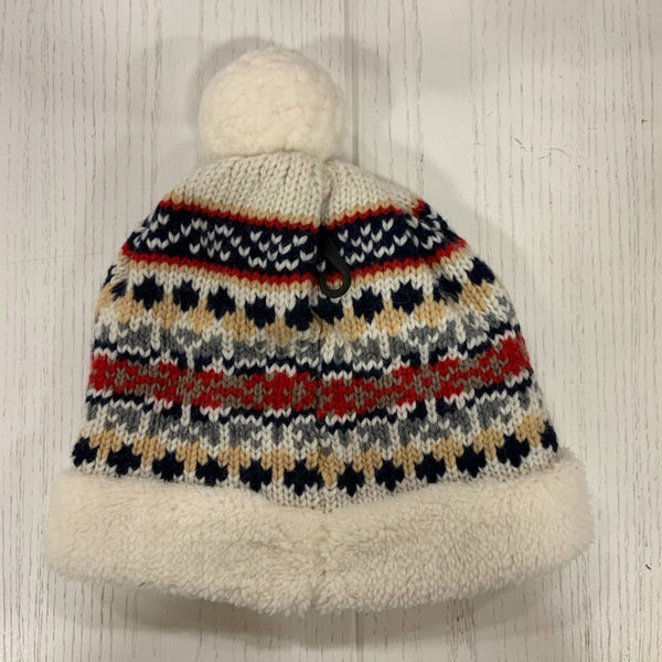 Nordic Snowflake Lined Stocking Hat with Pom Pom