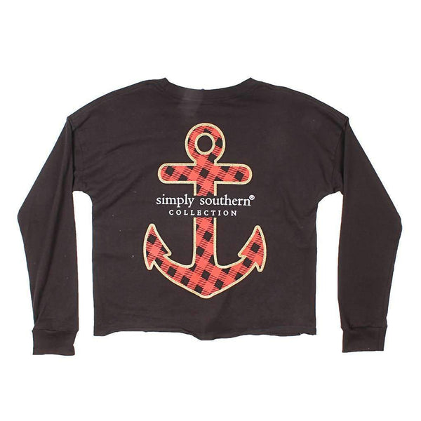 Black Anchor Cropped Long Sleeve