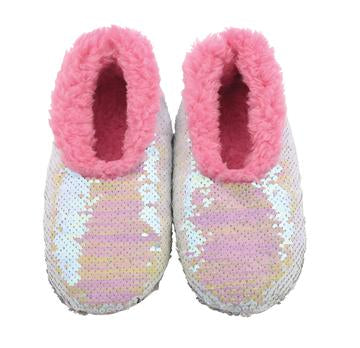 Snoozies- KIDS Iridescent Sequin Reverse Slippers