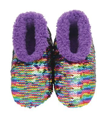 Snoozies- KIDS Rainbow Sequin Reverse Slippers