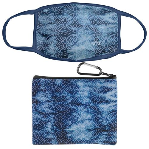Indigo Medallion Face Mask with Zipper Pouch