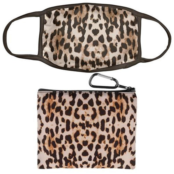 Leopard Print Face Mask With Zipper Pouch