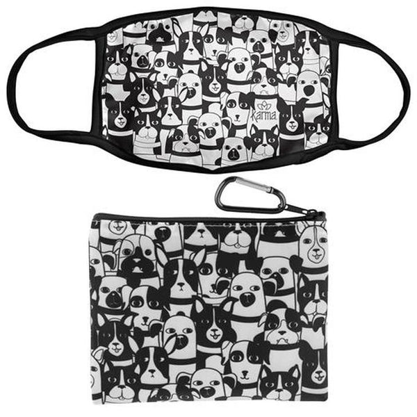 Dogs Face Mask With Zipper Pouch