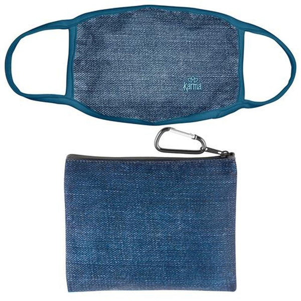 Denim Face Mask With Zipper Pouch