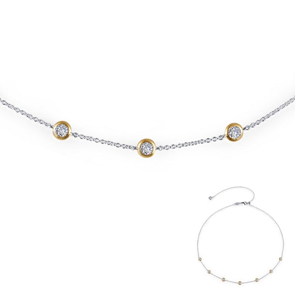 7 SYMBOLS OF JOY 2-Tone Simulated Diamond NECKLACES ( CTTW:1.02 | US: 18 )