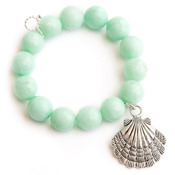 Faceted aqua jade paired with a large silver shell