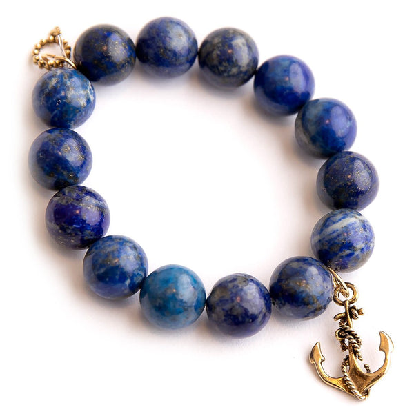 Lapis paired with a brass anchor