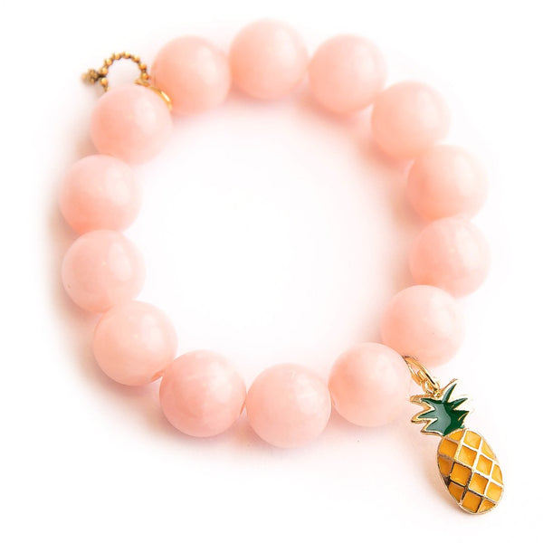 Petal Pink Jade Paired with An Enameled Pineapple