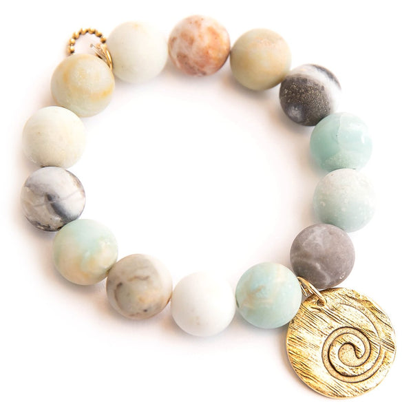 Matte amazonite paired with a hammered bronze wave