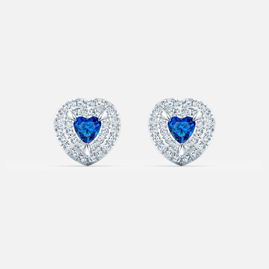 One Stud Pierced Earrings, Blue, Rhodium plated