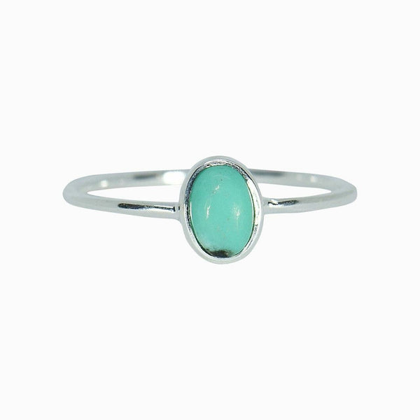 Oval Turquoise Ring in Silver